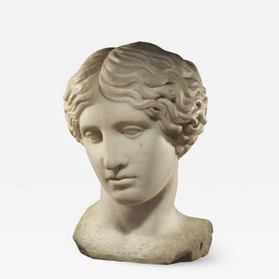 ROMAN MARBLE HERM BUST OF A WOUNDED AMAZON