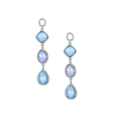 ROSE QUARTZ AND BLUE TOPAZ EARRINGS WITH DIAMONDS 18K YELLOW