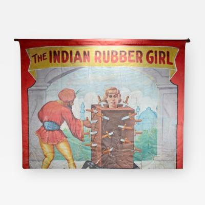 RUBBER GIRL 1940S CIRCUS BANNER 10FT