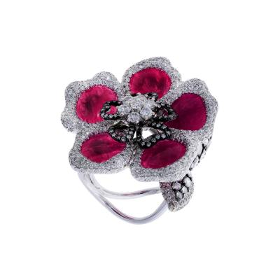 RUBY PETALS AND DIAMOND FLORAL RING
