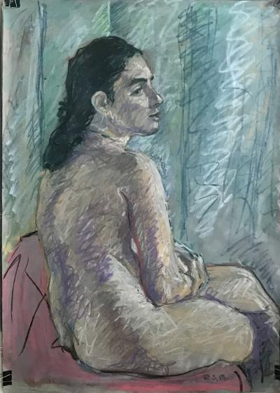 Rafael Saldarriaga Sitting Nude Woman in Dark Hair