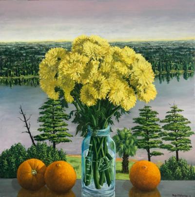 Rafael Saldarriaga Still Life Yellow Chrysanthemums With Oranges Oil Painting