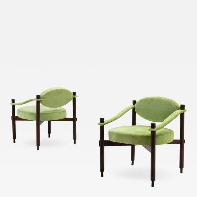 Raffaella Crespi Pair of Armchairs by Raffaella Crespi in Green Textured Velvet Italy 1960s
