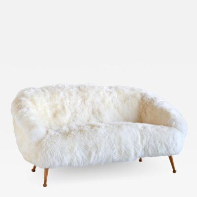 Ragnar Hels n Ragnar Hels n Sofa in White Sheepskin and Beech AB Stjernm bler Sweden 1956
