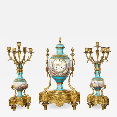 Raingo Fr res Exceptional French Ormolu Mounted Turquoise Jeweled Sevres Porcelain Clock Set