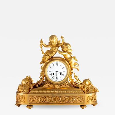 Raingo Fr res Fine Quality Gilt Bronze Figural Mantle Clock by Raingo Fr res