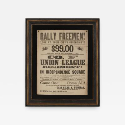 Rally Freemen Civil War Recruitment Broadside