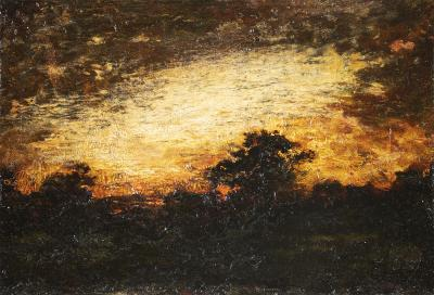 Ralph Albert Blakelock Landscape Silhouette at Twilight