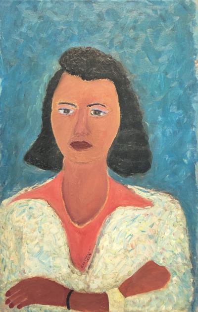 Ralph Fasanella Woman in White Sweater
