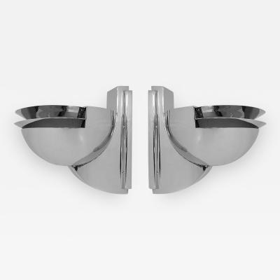Rambusch Streamline Art Deco Pair of Rambusch Wall Sconces in Nickel