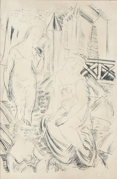 Raoul Dufy Trois Baigneuses Devant Le Port De Sainte Adresse Lithograph by Raoul Dufy