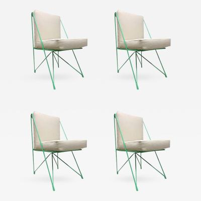 Raoul Guys Raoul Guys Rare Set of Four Aqua Metal Chairs Newly Recovered in Canvas Cloth