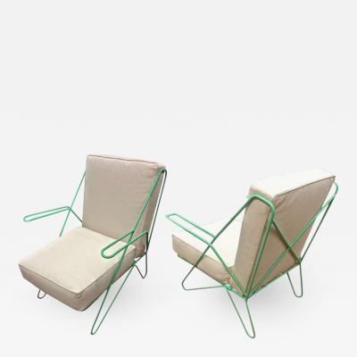 Raoul Guys Raoul Guys Rarest Pair of Aqua Metal Chairs Newly Recovered in Canvas Cloth
