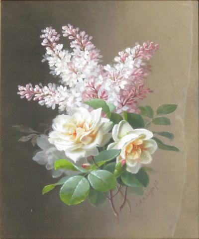 Raoul Maucherat de Longpre Orange Roses and Lilac Posy
