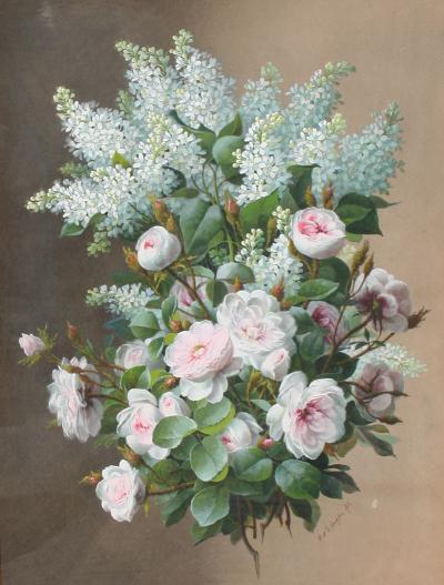 Raoul Maucherat de Longpre Roses and White Lilacs