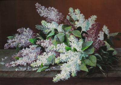 Raoul deLongpre Still Life of Lilacs