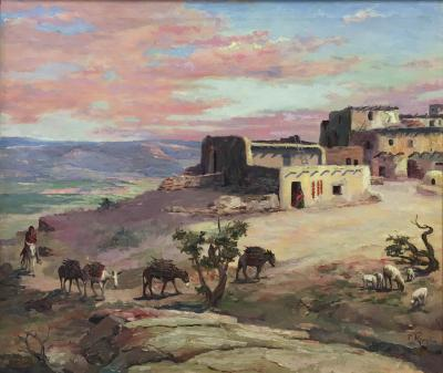 Raphael Lillywhite A Lone Pueblo Indian Riding Home to the the Village