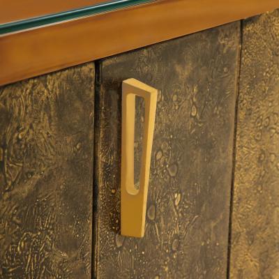 Raphael Raffel Raphael Important Lacquered Credenza With Textured Bronze Doors 1960s