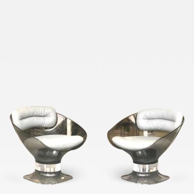 Raphael Raffel Raphael Raffel Pod Bronze Acrylic Pair of Chairs with Light Gray Leather Seats
