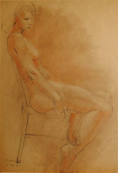 Raphael Soyer Drawing and Gouache of Large Nude signed