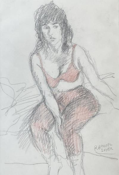 Raphael Soyer Seated Woman in Red Bra
