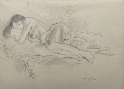 Raphael Soyer Sleeping Nude B W