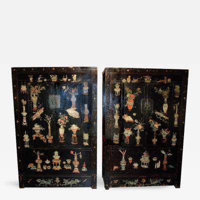 Rare 18th Century Pair of Painted Chinese Cabinet