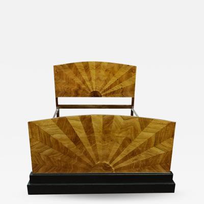 Rare 1930s Art Deco Walnut Double Bed