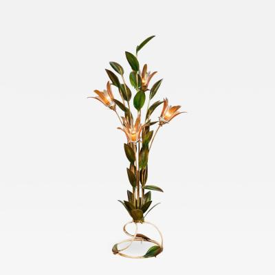 Rare 1950s tropical lily standard lamp