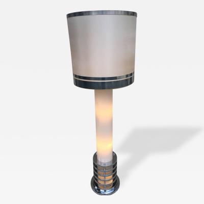 Rare 1960s Italian White Glass Chrome Lighted Column Base Floor Lamp