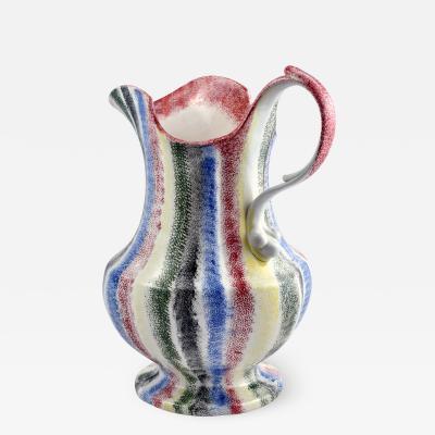 Rare 19th C English Spatterware handled pitcher