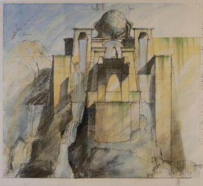 Rare 2002 Set Design Sketch from Dinotopia