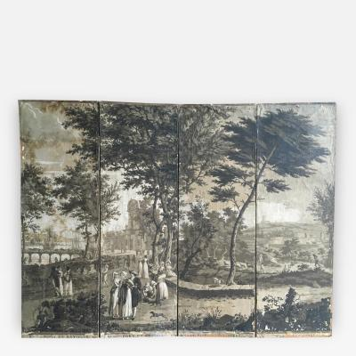 Rare 4 Panel Grisaille Wallpaper Screen By Dufour Circa 1810