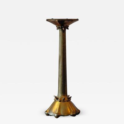 Rare Amsterdam School Hammered Brass Candlestick