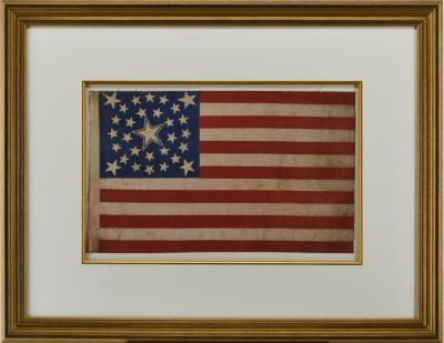 Rare Antique 30 Star American Flag with Rare Halo Star Arrangement