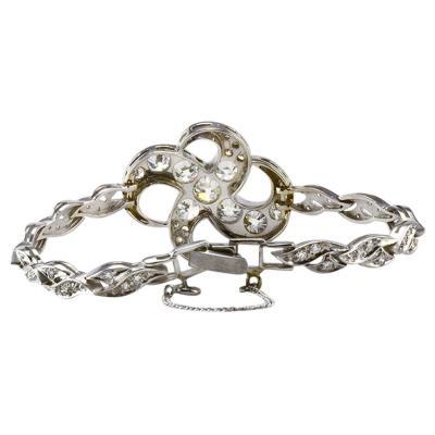 Rare Art Nouveau 4 91 CTW Diamond 18K White Gold Bracelet
