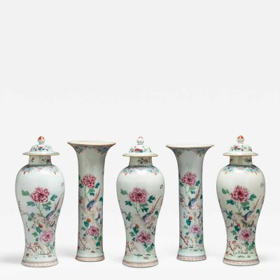 Rare Chinese Export Famille Rose Five Piece Garniture