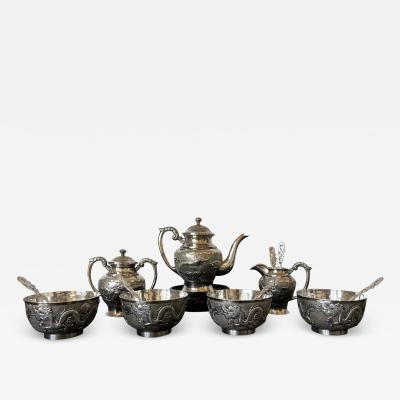 Rare Chinese Export Sterling Silver Tea Set with Dragon Design Tianjing Wuhua