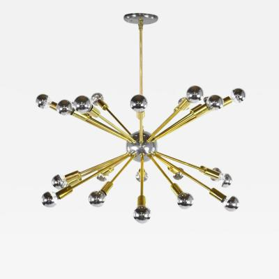Rare Chrome Brass Sputnik Chandelier