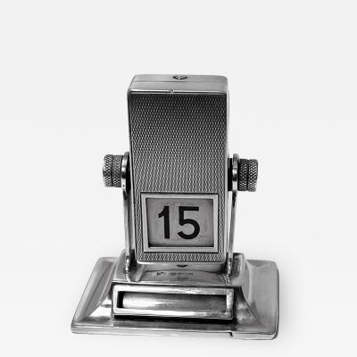 Rare English Sterling silver mechanical rotating desk calendar London 1930