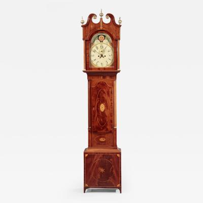 Rare Federal Eagle and Star Inlaid Tall Case Clock