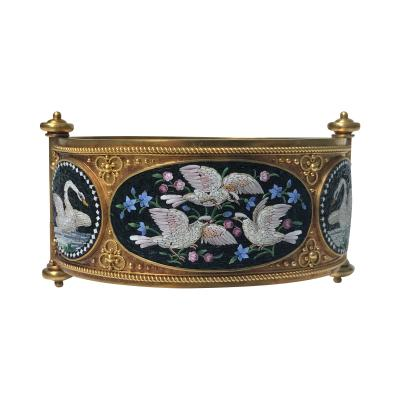 Rare Fine Cesare Roccheggiani Gold Mosaic Bangle Bracelet C 1870
