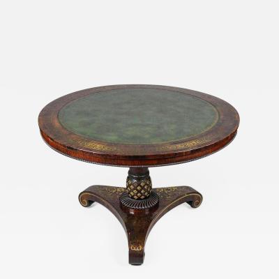 Rare Form Rosewood and Brass Regency Tilt Top Table