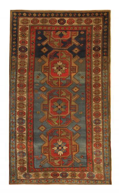 Rare Handmade Antique Caucasian Kazak Area Rug