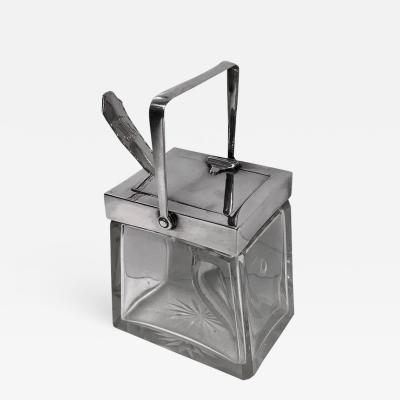 Rare Heath and Middleton Glass and Silver Mechanical Jar Birmingham 1906