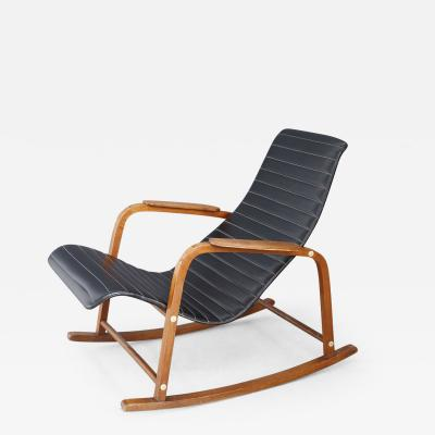 Rare Italian rocking chair in black leather from the 1950s