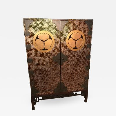 Rare Japanese Edo Period lacquered wood two door cabinet