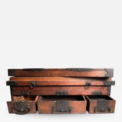 Rare Japanese Wood Chest Zenibako on Custom Stand