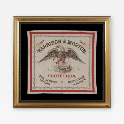Rare Kerchief Made For The 1888 Campaign of Benjamin Harrison