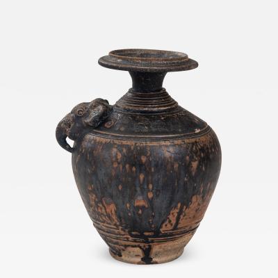 Rare Khmer Elephant Mask Earthenware Vase